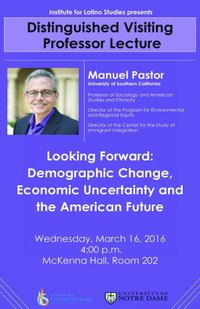 Distinguished Visiting Professor lecture flyer with Manuel Pastor